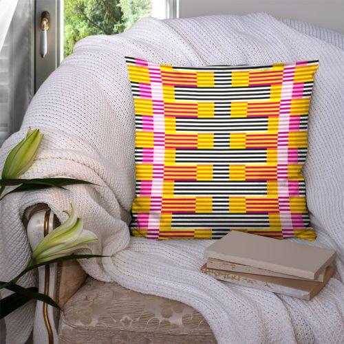 Coupon 45x45 cm motif rayé fuchsia - Création Lita Blanc