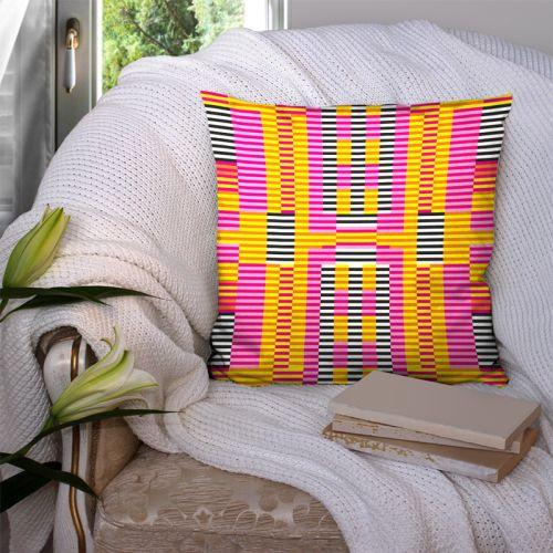 Coupon 45x45 cm motif abstrait rayé - Création Lita Blanc