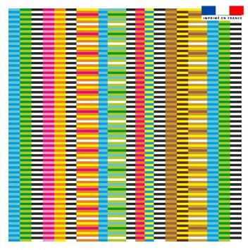 Coupon 45x45 cm motif rayures multicolores - Création Lita Blanc