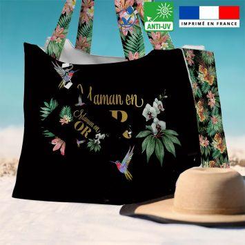 Kit sac de plage imperméable noir motif maman exotique - Queen size