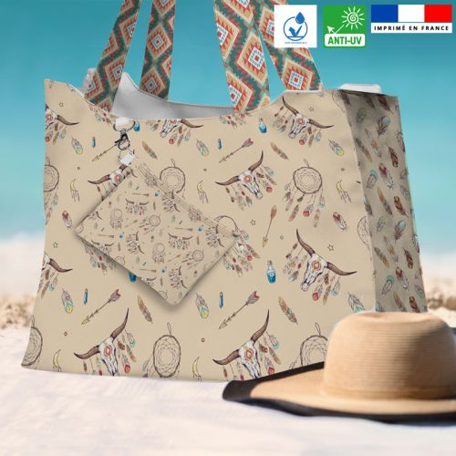 Kit sac de plage imperméable motif boho - King size