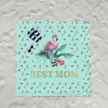 Coupon éponge pour serviette de plage double motif best mom
