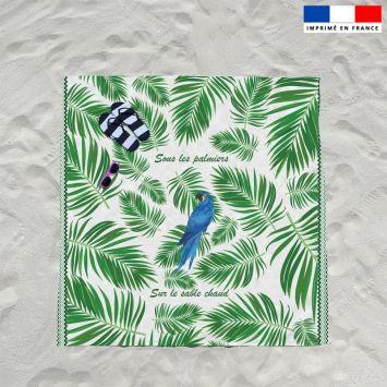 Coupon éponge pour serviette de plage double motif perroquet bleu et feuille tropicale