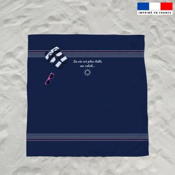 Coupon éponge pour serviette de plage double bleu motif marinière
