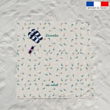 Coupon éponge pour serviette de plage double écru motif salamandre