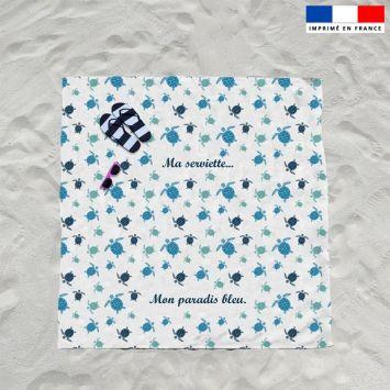 Coupon éponge pour serviette de plage double blanc motif tortue de mer