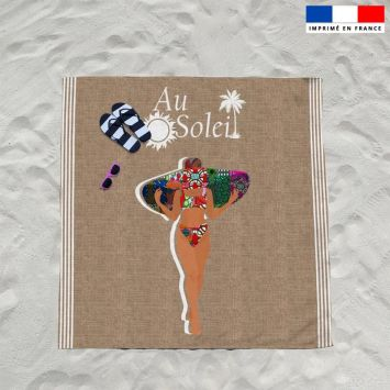 Coupon éponge pour serviette de plage double motif au soleil