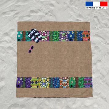 Coupon éponge pour serviette de plage double motif wax effet toile de jute