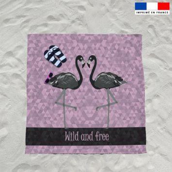 Coupon éponge pour serviette de plage double violet motif flamant wild and free