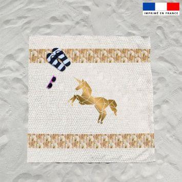 Coupon éponge pour serviette de plage double blanc motif licorne art déco
