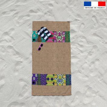 Coupon éponge pour serviette de plage simple motif wax effet toile de jute