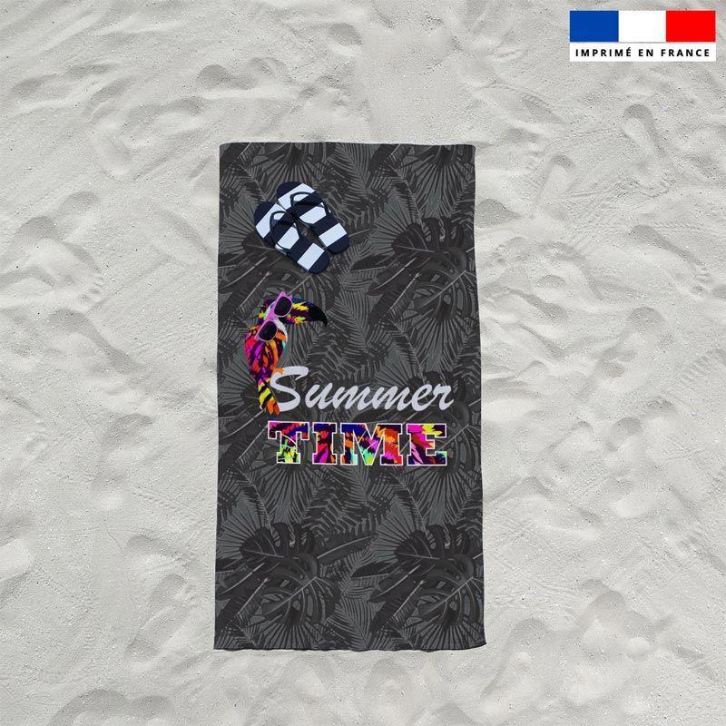 Coupon éponge pour serviette de plage noir simple motif toucan