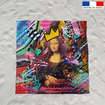 Coupon éponge pour serviette de plage double motif graffiti portrait - Création Alex Z