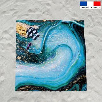 Coupon éponge pour serviette de plage double motif magma bleu et poudre d'or