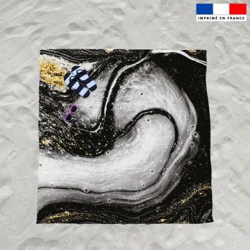 Coupon éponge pour serviette de plage double motif magma gris et poudre d'or