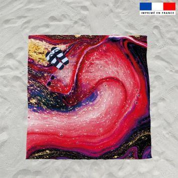 Coupon éponge pour serviette de plage double motif magma rouge et poudre d'or