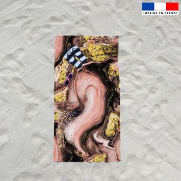 Coupon éponge pour serviette de plage simple motif magma rose et poudre d'or