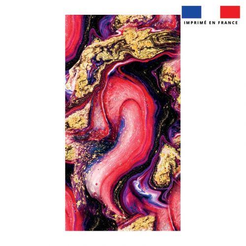 Coupon éponge pour serviette de plage simple motif magma rouge et poudre d'or