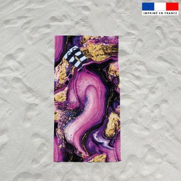 Coupon éponge pour serviette de plage simple motif magma violet et poudre d'or