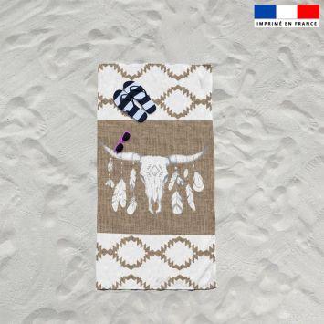 Coupon éponge pour serviette de plage simple motif tête de buffle effet jute