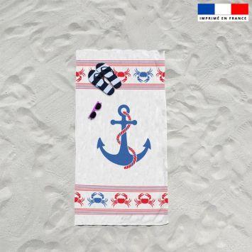 Coupon éponge pour serviette de plage simple motif ancre bleue
