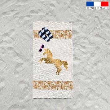 Coupon éponge pour serviette de plage simple blanc motif licorne art déco
