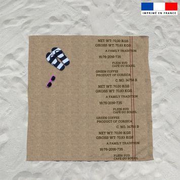 Coupon éponge pour serviette de plage double texture jute