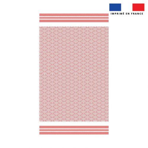 Coupon éponge pour serviette de plage simple rouge motif fouta japonaise