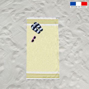 Coupon éponge pour serviette de plage simple jaune motif fouta japonaise