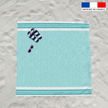 Coupon éponge pour serviette de plage double vert d'eau motif fouta japonaise