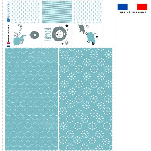 Coupon velours d'habillement pour vide-poches motif baby bleu et gris