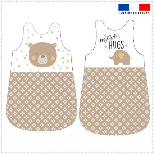 Coupon velours d'habillement pour gigoteuse motif baby marron et ocre