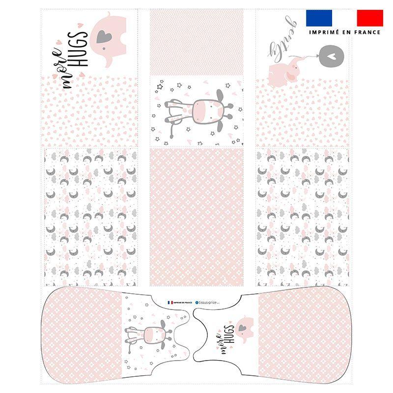 Coupon velours d'habillement motif baby rose et gris - Gigoteuse et Tour de Lit