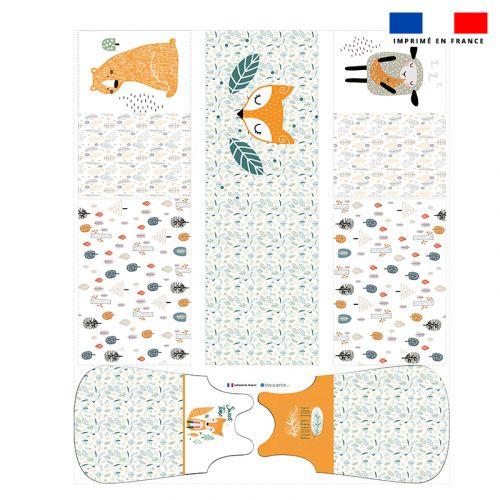 Coupon velours d'habillement motif animaux de la forêt - Gigoteuse et Tour de Lit