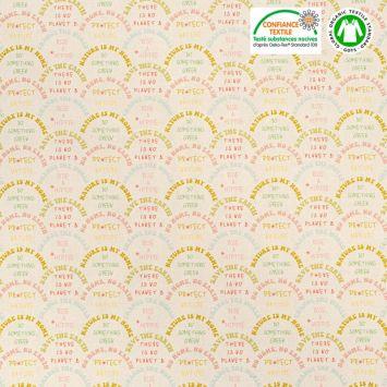 coupon - Coupon 77cm - Coton bio naturel motif save the earth Oeko-tex