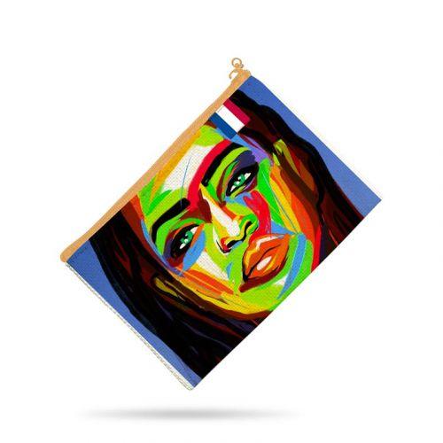 Kit pochette bleu motif portrait femme - Création Lily Tissot