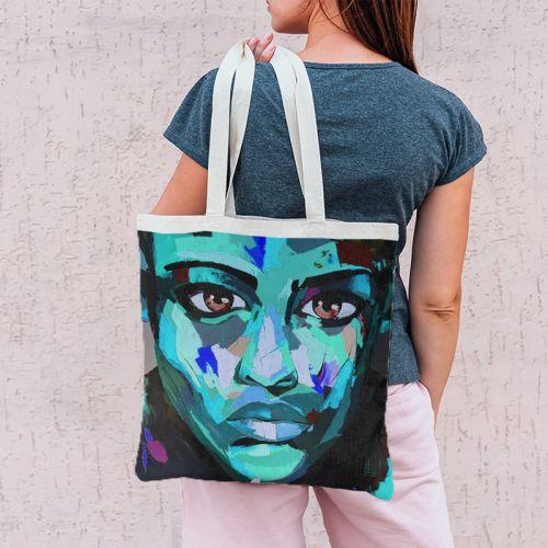 Coupon 45x45 cm motif portrait bleu - Création Lily Tissot