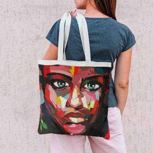 Coupon 45x45 cm motif portrait rouge - Création Lily Tissot