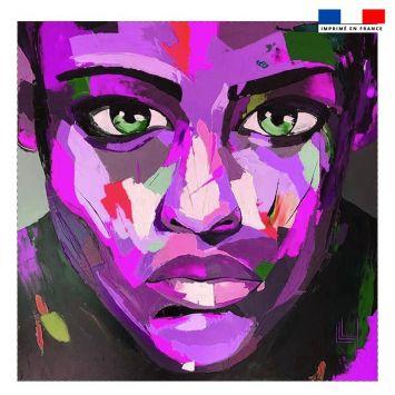 Coupon 45x45 cm motif portrait violet - Création Lily Tissot