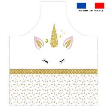 Patron imprimé sur canvas pour tablier motif licorne gold