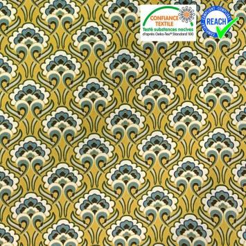 Coton jaune imprimé fleur sybille écrue et bleue