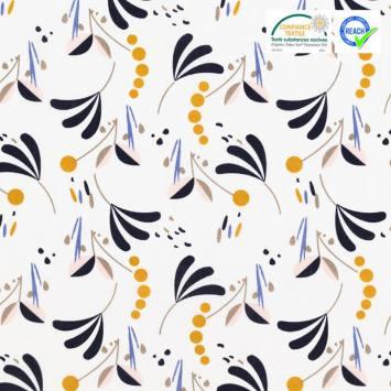 coupon - Coupon 63cm - Coton blanc motif howell