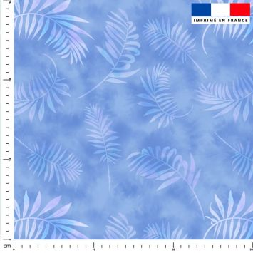 Tie and dye et palme effet aquarelle - Fond bleu jean