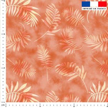Tie and dye et palme effet aquarelle - Fond orange