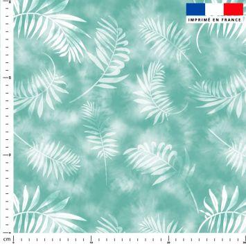 Tie and dye et palme effet aquarelle - Fond vert d'eau