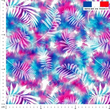 Tie and dye et palme effet aquarelle - Fond rose et bleu