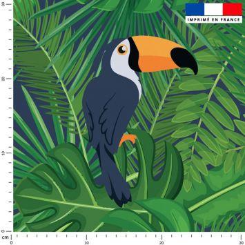 Toucan et feuille tropicale - Fond vert