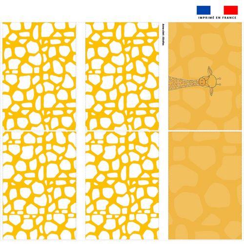 Coupon velours d'habillement pour tour de lit motif girafe jaune et blanche - Création Anne Clmt