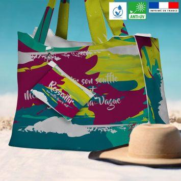 Kit sac de plage imperméable motif Ressentir - Queen size - Création Chaylart