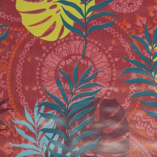 Toile cirée rouge motif feuilles exotiques